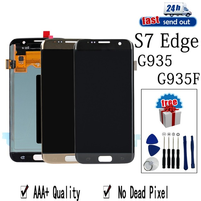 AMOLED G935F LCD For SAMSUNG Galaxy S7 Edge G935 LCD Display Touch Screen Tested Digitizer Assembly