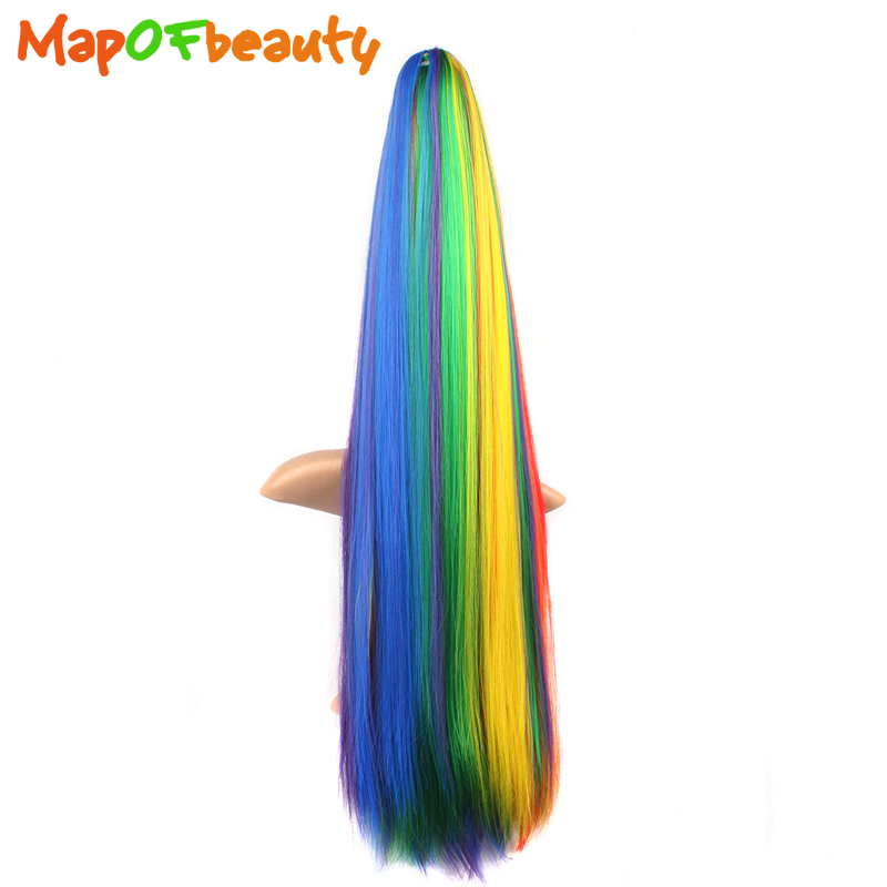Expressive Mapofbeauty Long Straight Straight Wigs Claw Ponytails Multi Color Synthetic Hair Extension 70cm Women's Ladies Girls Clip In Goods Of Every Description Are Available