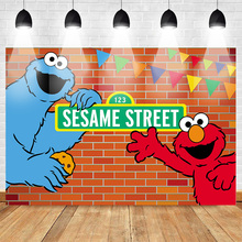 Neoback Sesame Street Backdrop for Photography Cartoon Brick Wall Background Photocall Birthday Party Newborn Backdrops