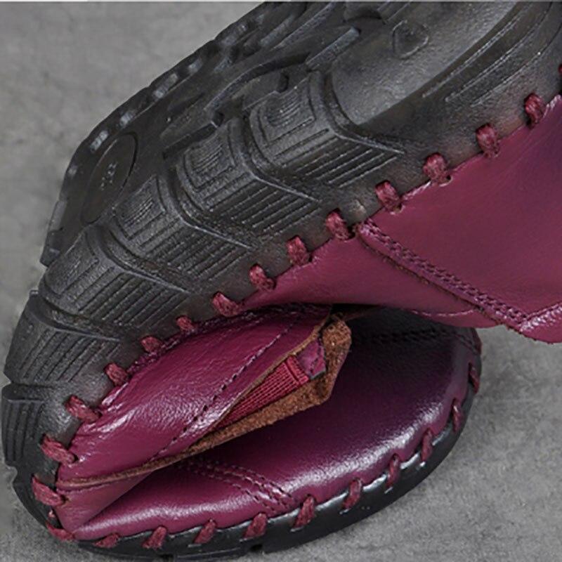 A Zapatos Mediana Suela púrpura Cómodos Negro Antideslizante Mano De Vintage Edad Suave Cuero Hecho Mujer Madre fwqApp