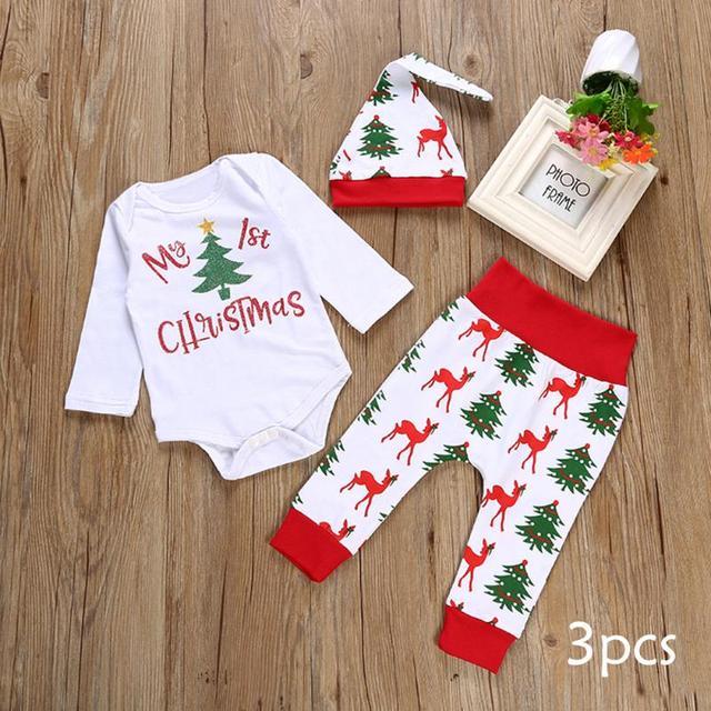 Babykleding Eerste Kerst.Us 8 34 24 Off 3 Stks Kerst Meisje Jongen Kleren Mijn Eerste Kerst Brief Romper Tops Herten Broek Hoed Babykleding Set Voor Pasgeborenen In 3