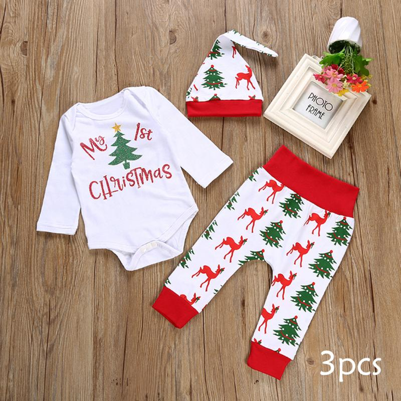 3pcs Christmas baby girl boy clothes My First Christmas Letter Romper Tops+Deer Pant+Hat Baby Clothing set for newborns 2pcs set baby clothes set boy