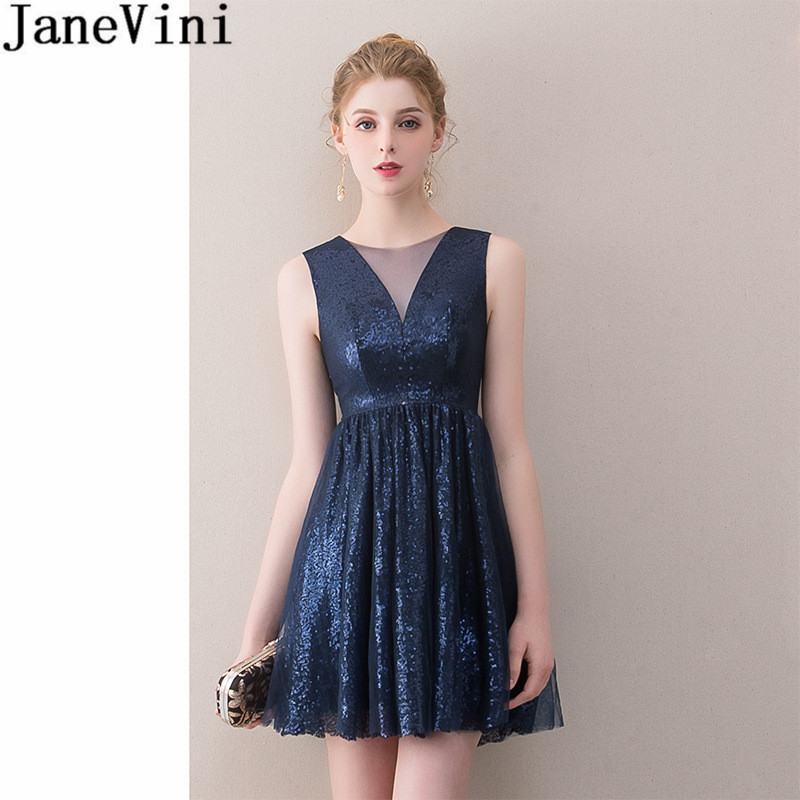 JaneVini Navy Blue Short Sequin Homecoming   Dress   Sheer V Neck Sparkly Short Sweet 16   Dress   Sexy   Bridesmaid     Dress   Vestidos Cortos