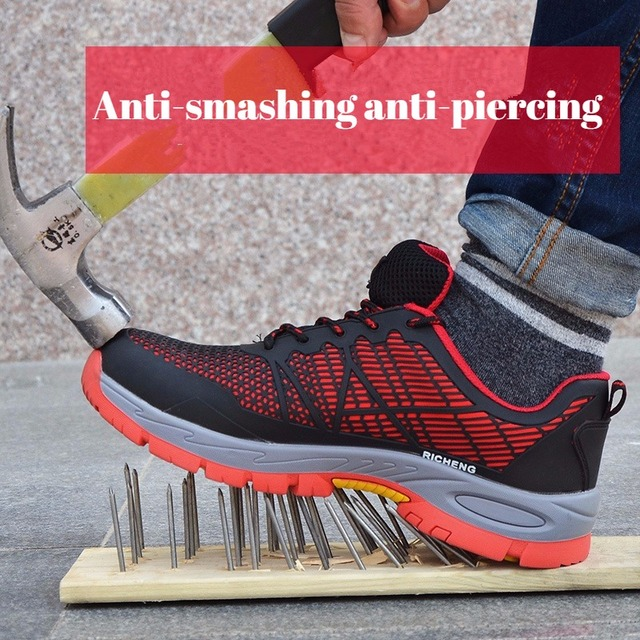 Men's Autumn Steel Head Work Shoes Lightweight Anti-smashing Anti-Puncture Wear Safety Electrical Insulation Male Safety Shoes