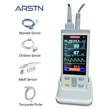 3.5 TFT LCD 1 أو 3 أجهزة استشعار الكبار الأطفال حديثي الولادة SpO2 + PR + درجة الحرارة مقياس التأكسج المحمول لقياس النبض نبض القلب