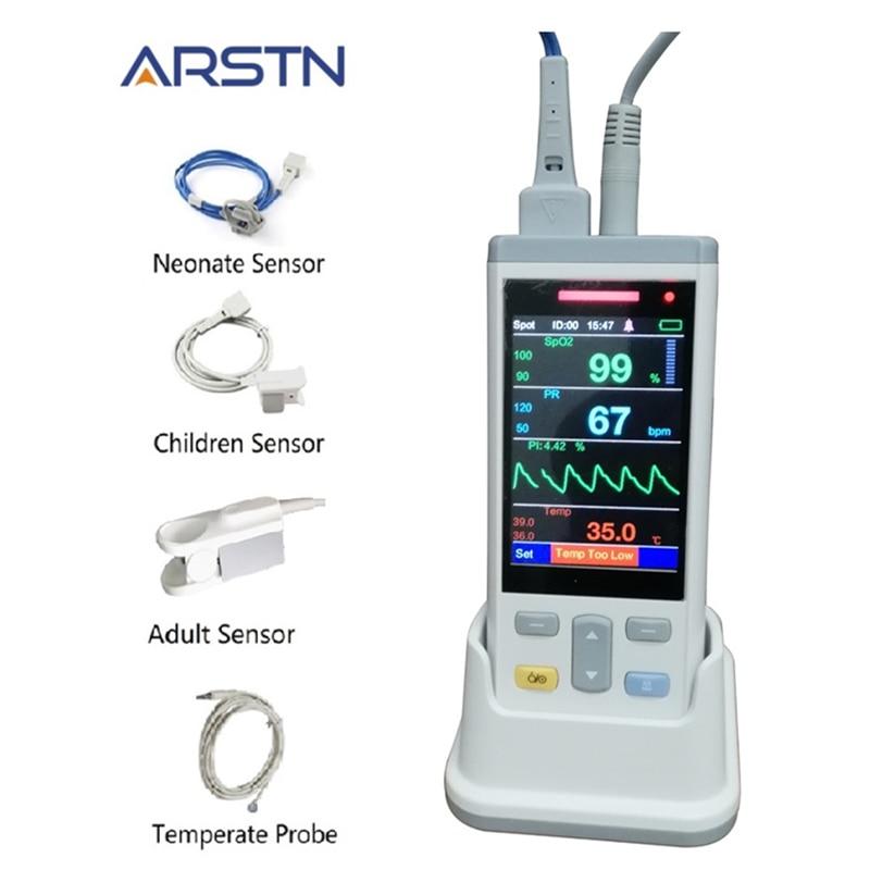 3.5 tft lcd 1 ou 3 sensores adultos crianças neonate spo2 + pr + temp de pulso handheld oxímetro coração monitor rater ce