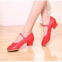 34-42 MoveFun New Mềm Shoes Múa Dưới Phụ Nữ Xã Hội Vuông Giày nhảy Đen Cô Gái Đỏ Ballroom Latin Dance Giày Mẹ #30