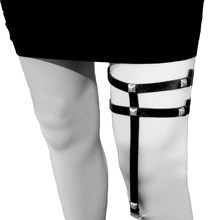 e7703c3c449 Handmade Harajuku Leg Garter Belt Punk Goth long Leather Rivets Metal  Elastic Clips Sock Garter Leg Ring Loop