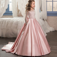 Princess dress Fancy Flower Girl Dresses Draped Long Sleeves First Communion Dress Pink Bow Trailing Tulle Ball Gowns for Kids