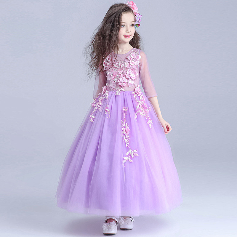 HOT Wedding Party Purple Formal Flowers Girl Dress Baby Pageant Dresses Birthday Cummunion Toddler Kids evening gowns Custom childrens wedding gown blue purple hot pink red summer toddler party wedding birthday princess dress girl kids dresses