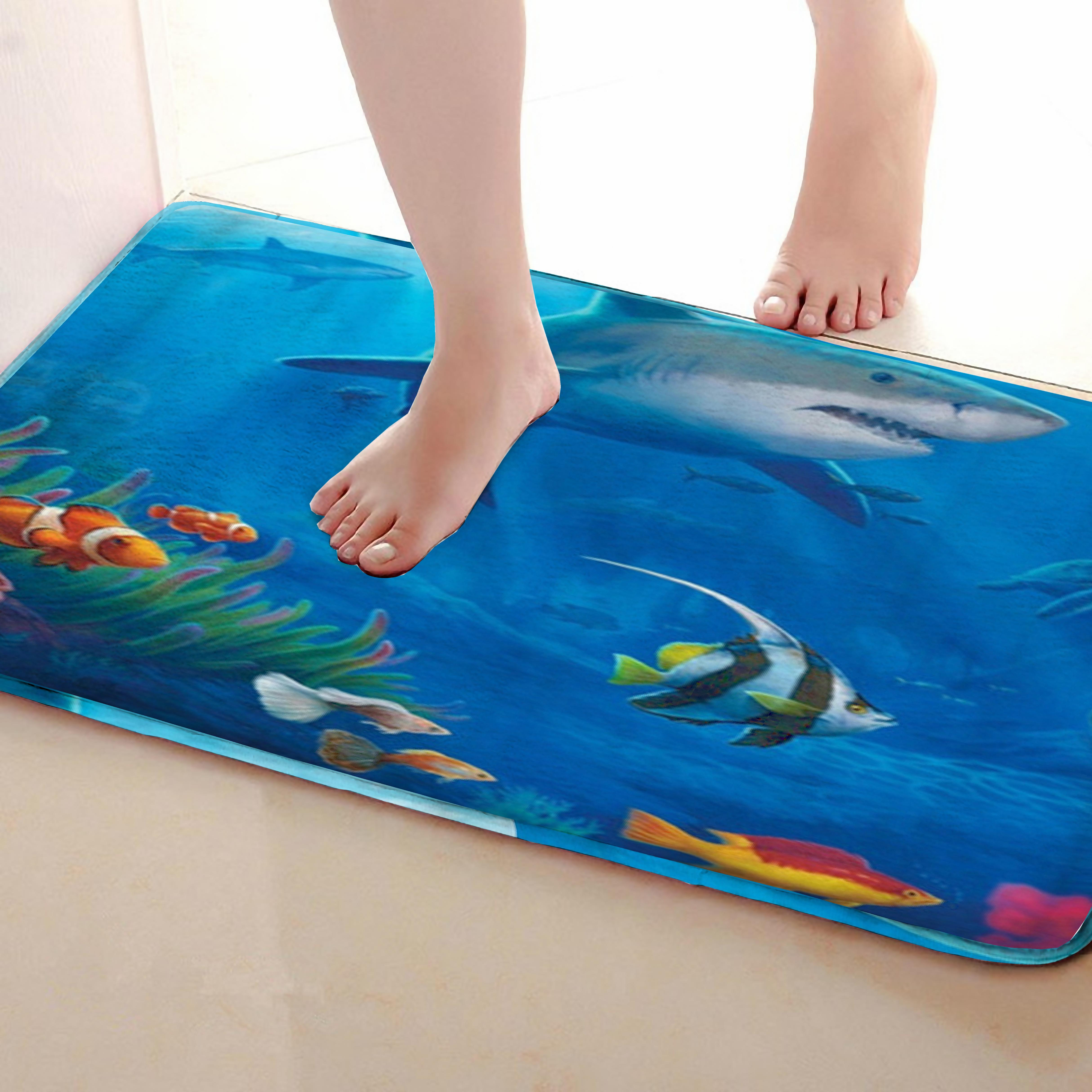 Shark Style Bathroom Mat,Funny Anti Skid Bath Mat,Shower Curtains Accessories,Matching Your Shower Curtain