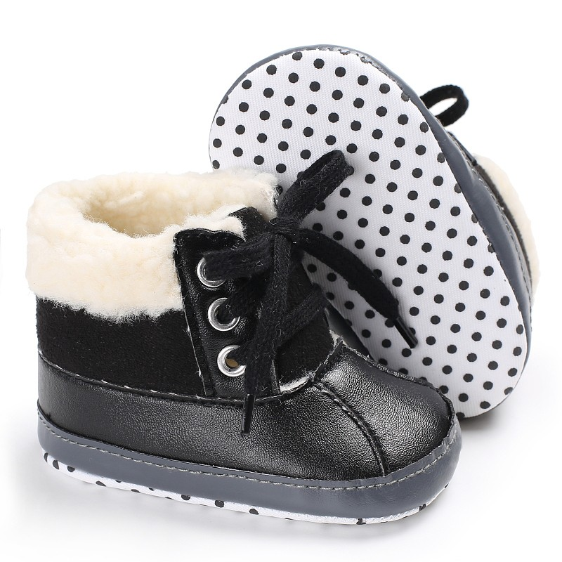 Newborn Baby First Walkers Keep Warm PU Fleece Snowfield Lace-Up Sneakers Warm Shoes For Kids Girls Boys