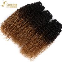 Joedir Peruvian Kinky Curly Hair Extensions 3 Pcs Remy Bundles Deal Ombre Color T1B/4/27 Human Hair 3 Bundles Free Shipping
