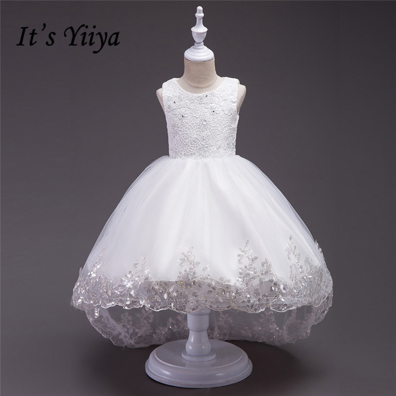 It's YiiYa 3 Colors Sleeveless O-Neck Bow Bling Sequined Pattern Crystal Lace Kids Princess   Flower     Girls     Dress   Party TS062