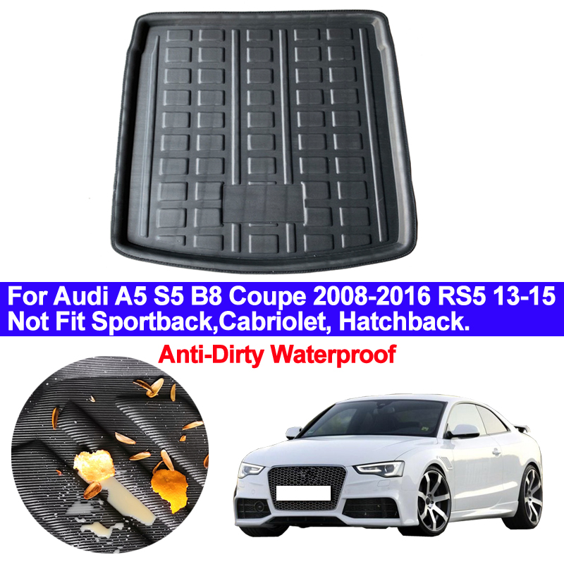 Car Rear Trunk Mat Cargo Tray Boot Liner Carpet Protector Floor For Audi A5 S5 B8 Coupe 2008 2009 2010 - 2016 RS5 2013 2014 2015