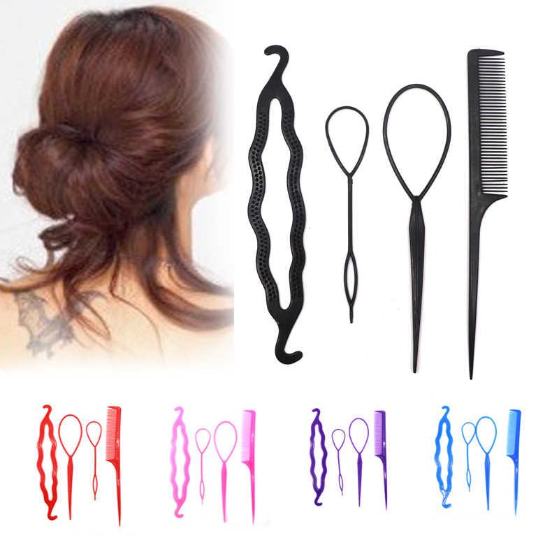 4 sztuk włosów dysku pociągnij szpilki do włosów grzebień do włosów narzędzi do stylizacji, aby splot warkocz Donut Bun narzędzia do stylizacji dla fryzjerów akcesoria