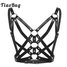 TiaoBug Adjustable Faux Leather Rivet Metal O-rings Sexy Women Gothic Bust Harness Women Bondage Strap Body Caged Bra Costume