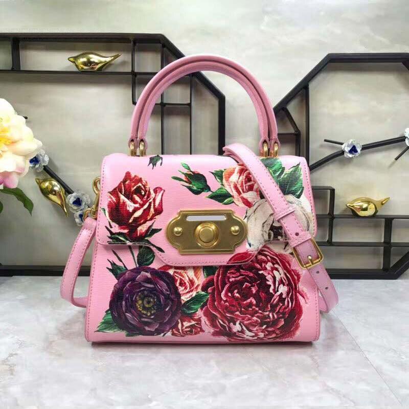 Cuir de vache sacs à main de luxe femmes sacs Designer Art été fleurs en fleurs femmes Messenger sacs peint à la main sac peinture Totes