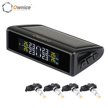 Ownice Car Auto Solar Power TPMS Bandenspanning Monitoring 4 Externe Interne Sensoren alarm beveiligingssysteem Kleur Display