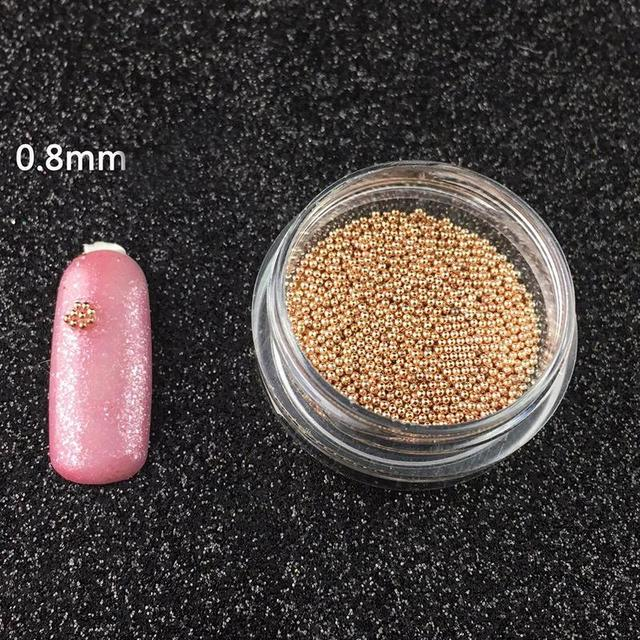 0.8mm Metal Micro Beads Stainless Steel Nails Art Caviar Micro Beads For 3D Nail Gold Silver Nail Beads Micro Decorations 5