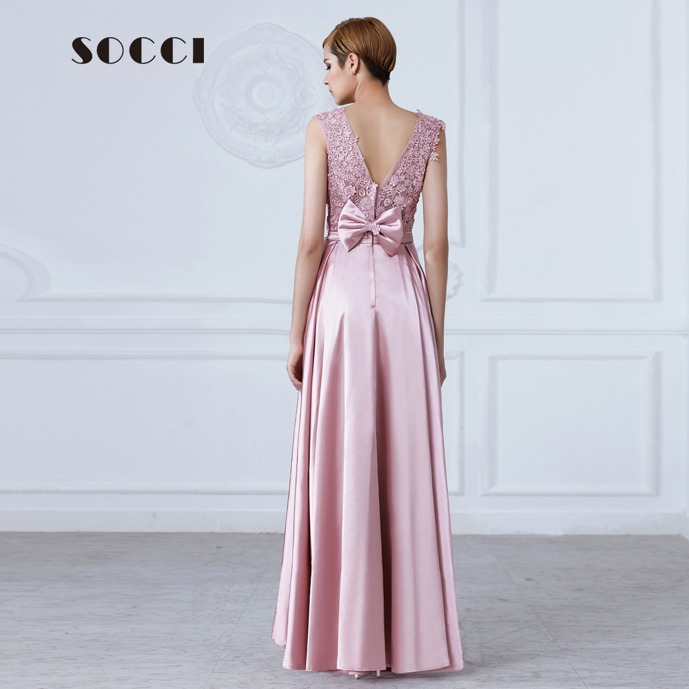 de99f1948908 SOCCI Weekend Long Satin Lace Evening dress 2018 Women Elegant Bride Dresses  Crystal Sashes vestido de festa Formal Party Gowns-in Evening Dresses from  ...