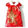 Mopopo Bebé Espesar Niñas Vestidos de Invierno 2017 Niños de la Marca Vestido de Brocado Estilo Chino Vestidos Para Niños Ropa Para Niñas de Invierno