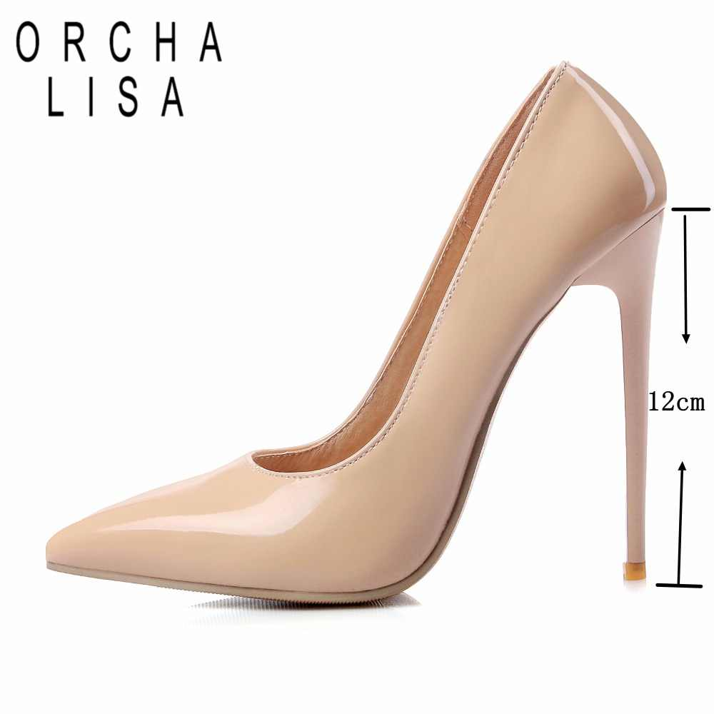 0858da083a ORCHA LISA 12cm Shallow Thin High Heels Pumps Dress Party Office Lady's  Pumps Pointed Toe Summer Women Shoes Stilettos Mujer