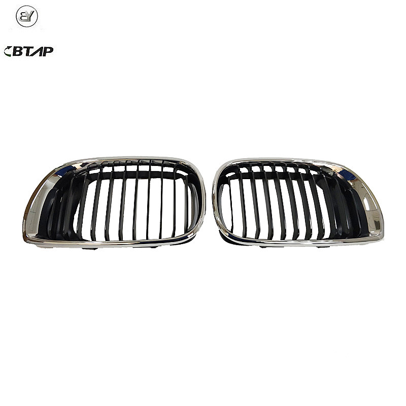 BTAP Right & Left Upper Grille Chrome & Black For BMW E46