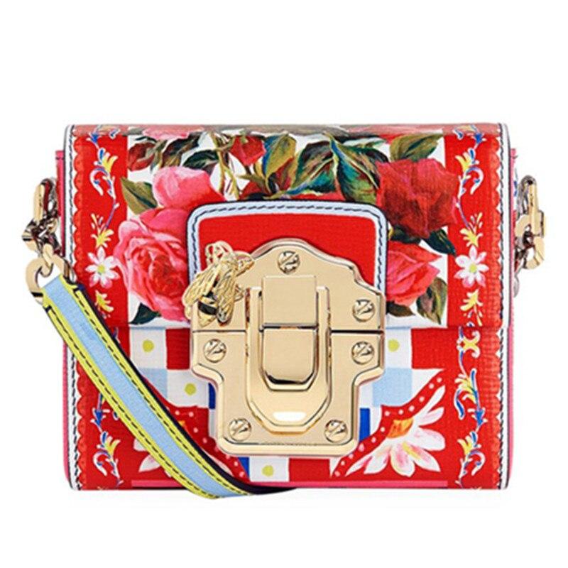 Sacs en cuir de vache, sacs de messager d'impression de fleurs, concepteur célèbre de luxe de marque, sacs à main de femmes