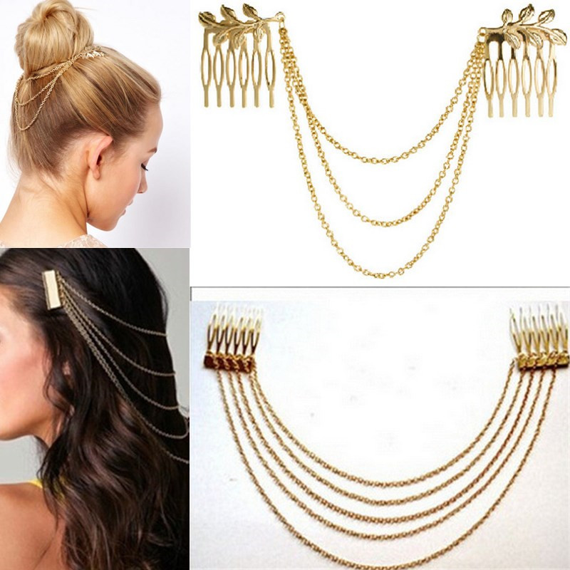 LNRRABC Women Hair Combs Metal Tasselkjede Ladies Headband Hair Tilbehør Clip Bridal Leaf Headwear Bijoux Drop Shipping