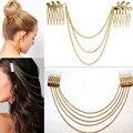 Mujeres Peines de Metal Oro Plata Cadena Borla Damas Accesorios para el Cabello Diadema Clip Hoja Nupcial Headwear Bijoux Gota Del Envío