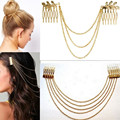 Women Hair Combs Metal Gold Silver Tassel Chain Ladies Headband Hair Accessories Clip Bridal Leaf Headwear Bijoux Drop Shipping