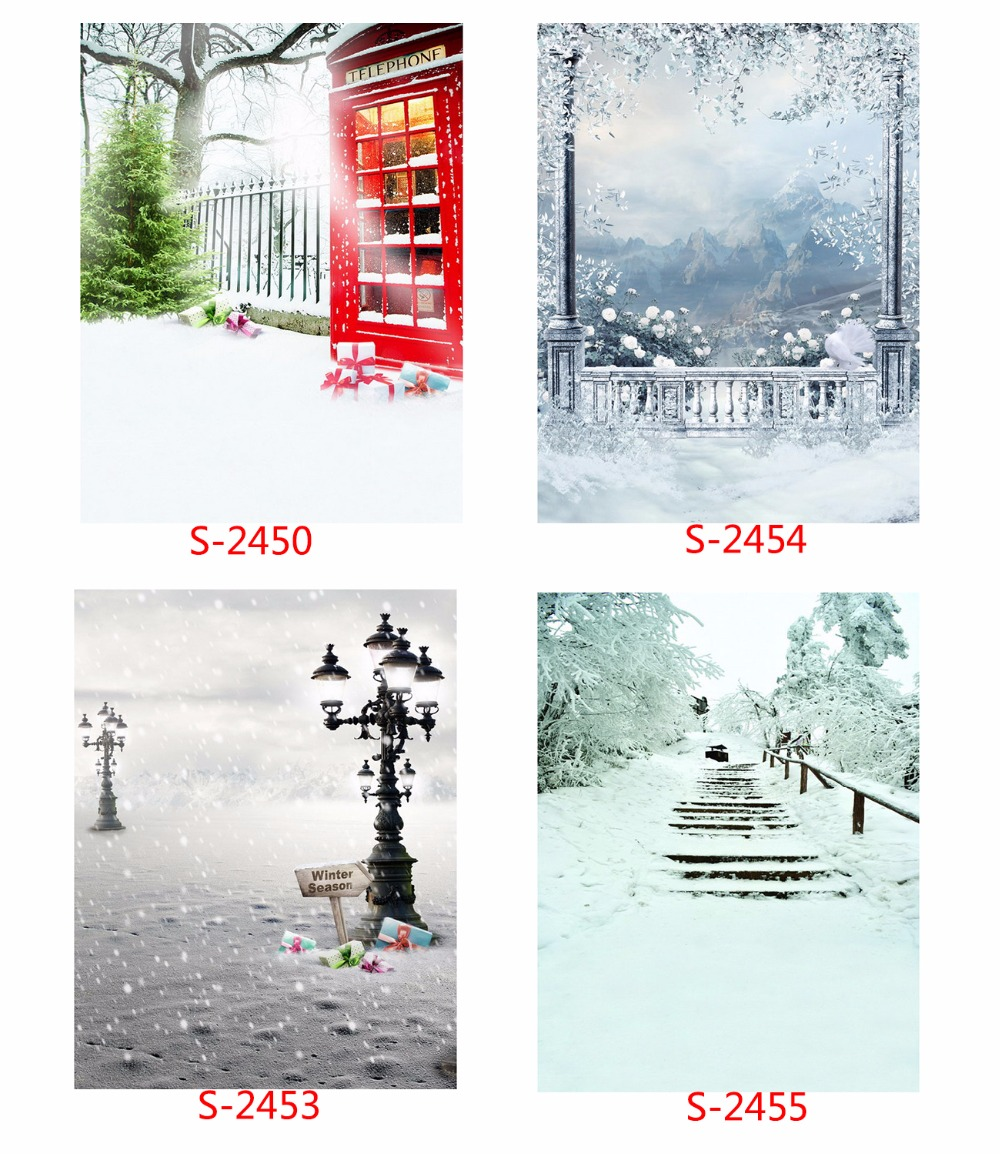 Snowy Winter Phonebooth 5X7ft Vinyl Christmas Photography Backdrop Computer Printed Photographic Background For Photo Studio snowman winter backdrop vinyl cloth high quality computer printed christmas photo studio background