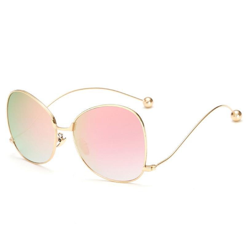 Mulheres Óculos De Sol Elegante Bola de Aço de Metal Frame Ótico Pernas  Curvas Sobre Tamanho UV400 Óculos lentes de sol mujer NG-40 3319538da0