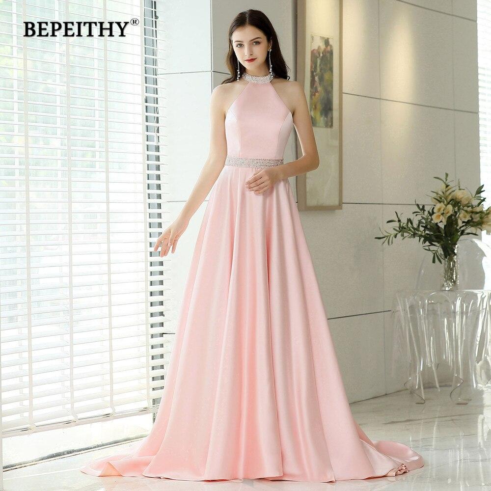 BEPEITHY Halter Long Evening Dresses With Crystal Belt Vestido De Festa Backless Court Train Pink Prom