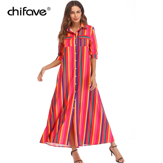 17f64c825877 chifave Women Plus Size Dress 2018 Autumn Rainbow Striped Loose Long Shirt  Dress Female Elegant Half