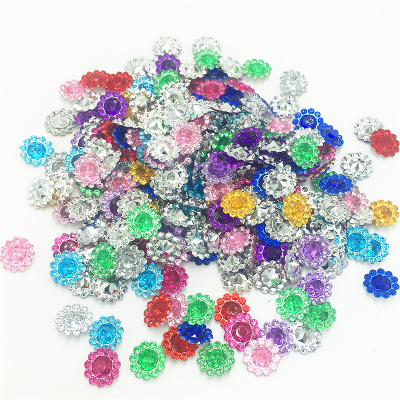 500pcs/pack 11mm 10colors Hotfix Bling Acrylic Pointback Buttons Artificial Plastic Decorative Crystal Strass Beads