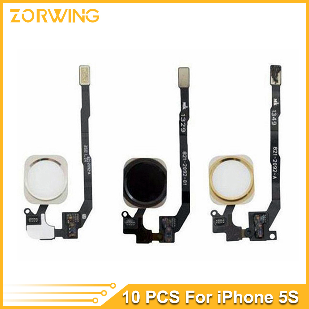 10pcs/lot Home Button Flex Cable Ribbon Assembly For iPhone 5S home button complete Repair part white black gold