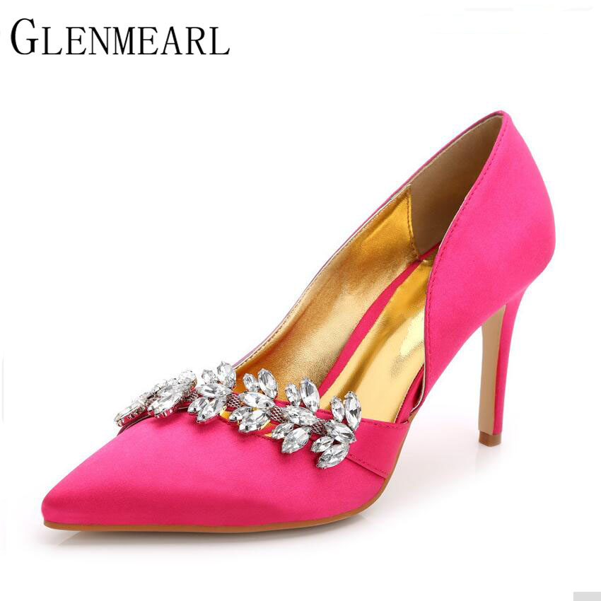 2018 Sexy Women Pumps Spring Fall Pointed Brand Thin High Heels Wedding Shoes Red White Black High-heeled Shoes Size 43 XP20 brand red sexy women party wedding nightclub shoes woman thin high heel pumps spring summer women high heels 2017 with box