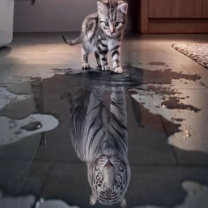 Diamond Embroidery Cat Creative Water Reflection Tiger DIY