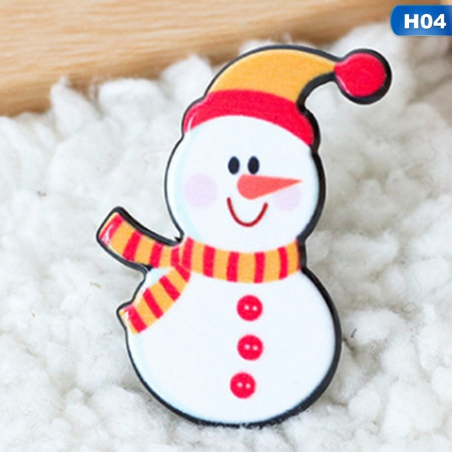 c406d8f9b21d5 2018 Christmas Gift Pin Brooches Santa Claus Snowman Elk Pin For Kids T  Shirt Sweater Coat