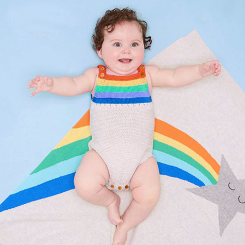For Toddler Baby Girls Summer Rainbow Striped Romper Jumpsuit Bodysuit Outfits