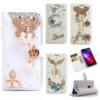 Rhinestone Case For Lenovo A536 K5 K6 Glitter Diamond Case Flip Wallet PU Leather Cover Butterfly