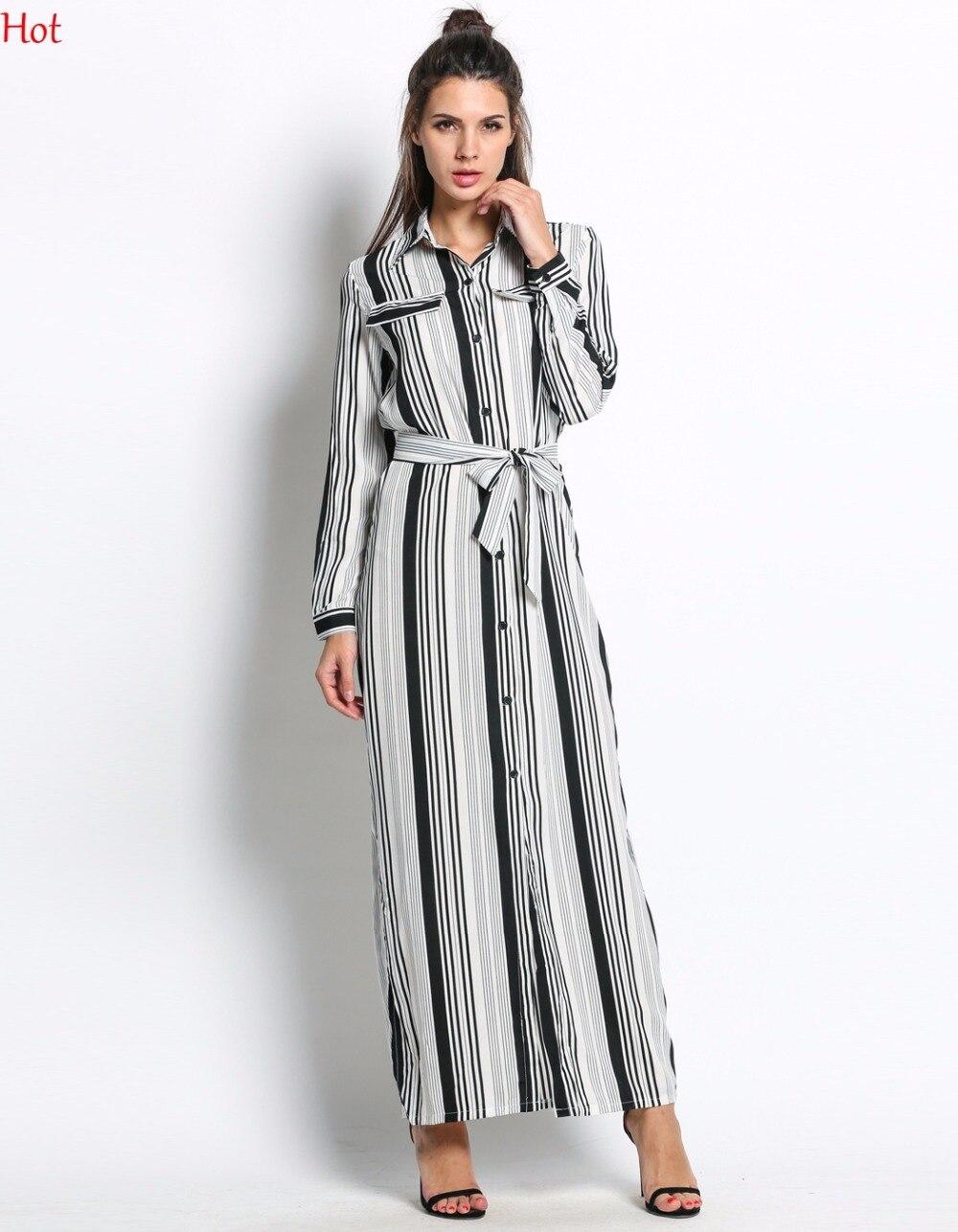 Us 939 Hot Black White Striped Maxi Shirt Dress Long Sleeve Elegant Button Party Dresses High Split Sexy Tie Waist Tunic Dress Sv030085 In Dresses