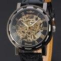 Классические мужские механические армейские наручные часы с черным кожаным циферблатом