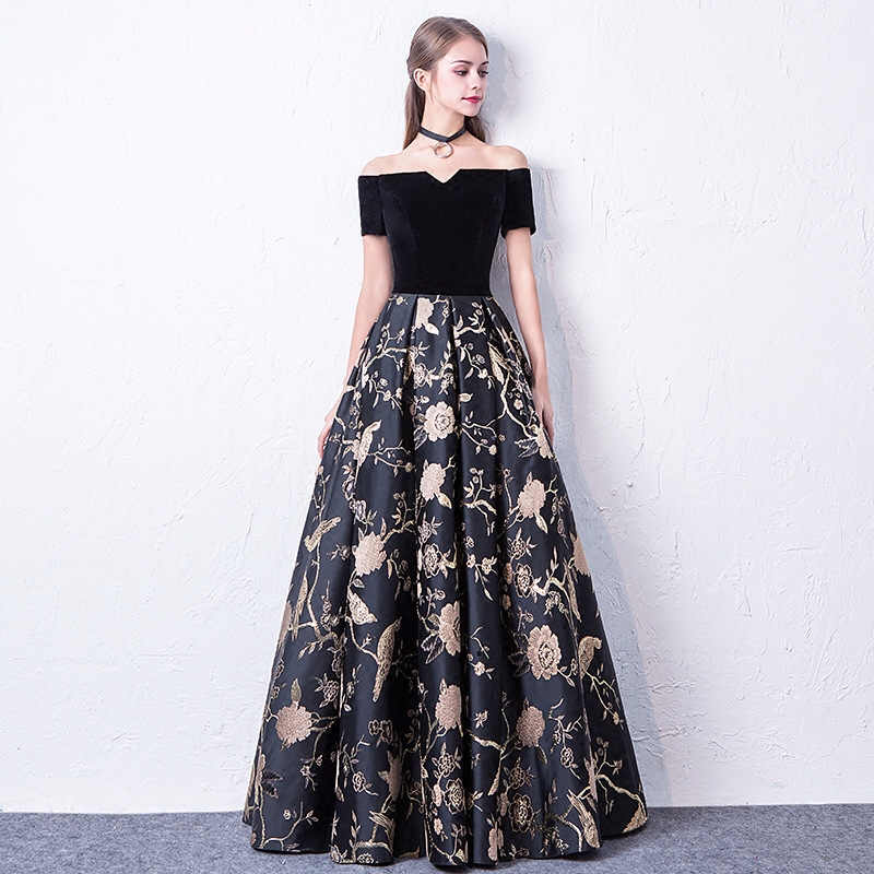 ... JaneVini Black Floral Flowers Long Party Dresses For Wedding Formal  Gowns Short Sleeve Gold Print Bridesmaid ... 0fea327a5146