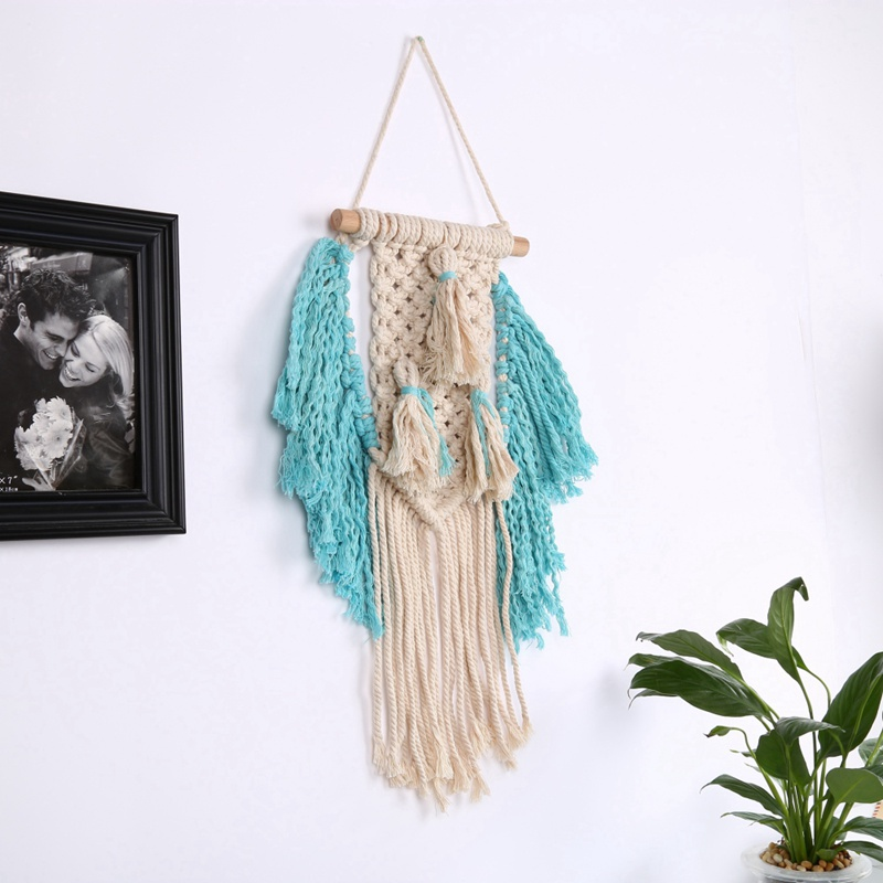 Tapestry Handmade Knitting Tapestry Macrame Hanging Dyed Bohemia Tassel Tapestry Background Wall