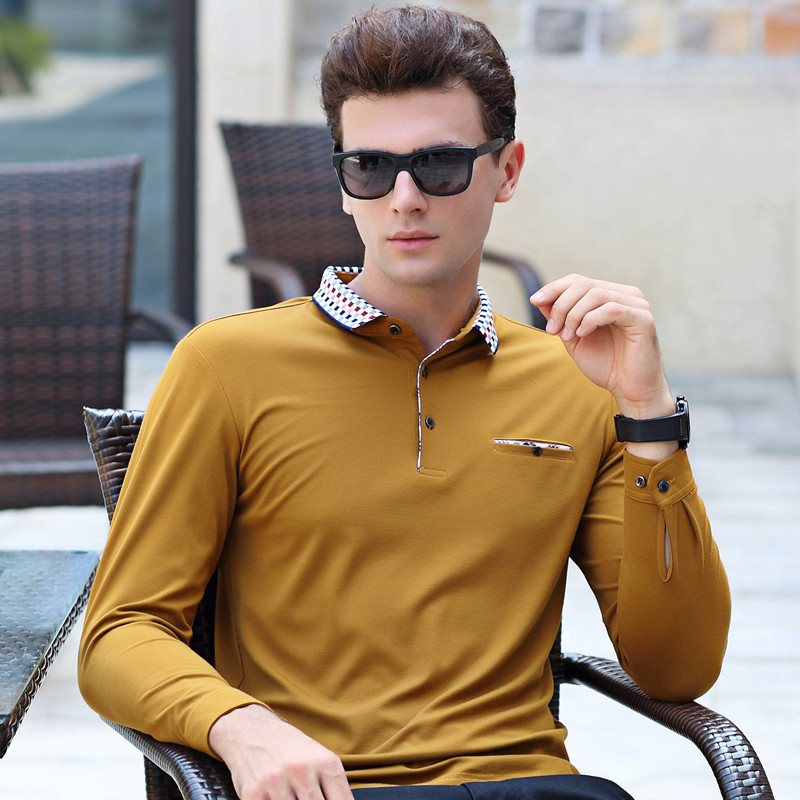 Spring autumn new arrival long sleeve solid business casual   polo   shirt men breathable homme cotton camisa plus size XXXL 6611