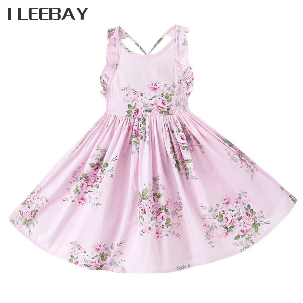 154bd2dfe16c 2018 Baby Girls Wedding Dress Brand Summer Beach Style Floral Print Party  Backless Princess Dresses Vintage Toddler Girl Clothes-in Dresses from  Mother ...