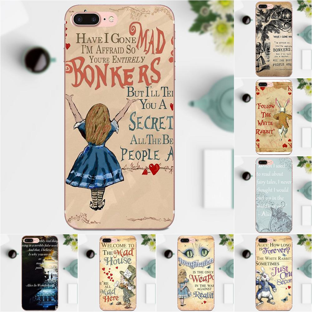 The Mad Hatter Alice In Wonderland Quote For Apple iPhone 4 4S 5 5C 5S SE 6  6S 7 8 Plus X XS Max XR Coque Soft Phone Transparent fe1e3a025c62